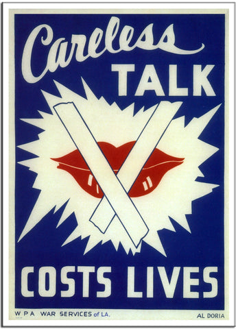 CARELESS TALK COSTS LIVES by Al Doria - United States 1941 Vintage Print-Poster-Elysiumprints