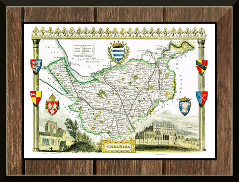 1830 Map of CHESHIRE - County Map - Thomas Moule - Reproduction (42 x 30 cm)-Elysiumprints