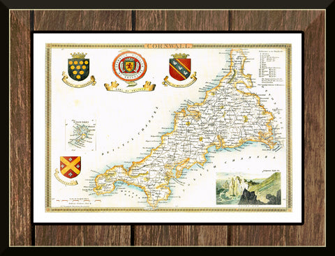 1830 Map of CORNWALL - County Map - Thomas Moule - Reproduction (42 x 30 cm)-Elysiumprints