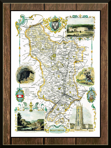 1830 Map of DERBYSHIRE - County Map - Thomas Moule - Reproduction (42 x 30 cm)-Elysiumprints