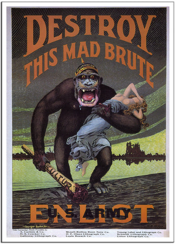DESTROY THIS MAD BRUTE by H.R. Hoops - United States - 1917 Vintage Print-Poster-Elysiumprints