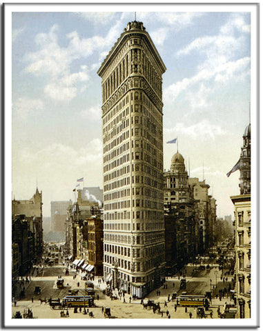 Flat Iron Building - US Streets Scene - Vintage re-print - 1903-Poster-Elysiumprints