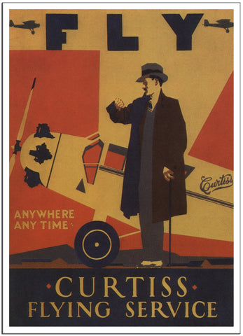 FLY CURTISS FLYING SERVICE - 1920 - Vintage Airline Poster United States-Poster-Elysiumprints