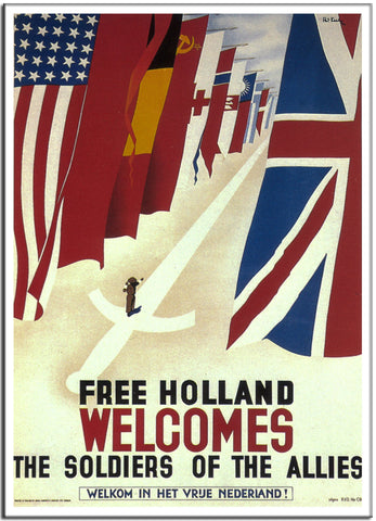 FREE HOLLAND WELCOMES THE SOLDIES OF THE ALLIES - 1944 - United Kingdom-Poster-Elysiumprints