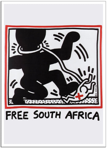 FREE SOUTH AFRICA by Keith Haring 1985 - South Africa - Vintage Print-Poster-Elysiumprints