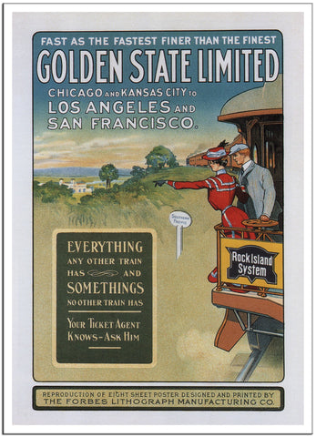 GOLDEN STATE LIMITED - 1902 - Vintage Railway Poster USA-Poster-Elysiumprints