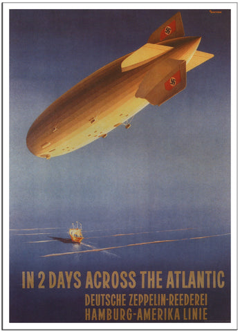 IN 2 DAYS ACROSS THE ATLANTIC - 1936 - Vintage Airline Poster Germany-Poster-Elysiumprints