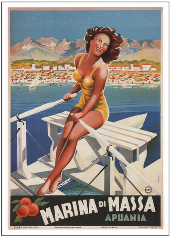 MARINA DI MASSA by Filippo Romoli Italy Travel Poster 1949 -Poster-Elysiumprints