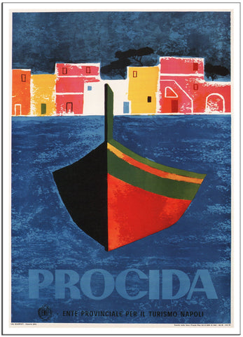 PROCIDA Italy - Vintage Italian Travel Poster by Mario Puppo 1960 -Poster-Elysiumprints