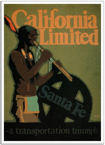 SANTA FE CALIFORNIA LIMITED - 1925 - Vintage Railway Poster USA-Poster-Elysiumprints