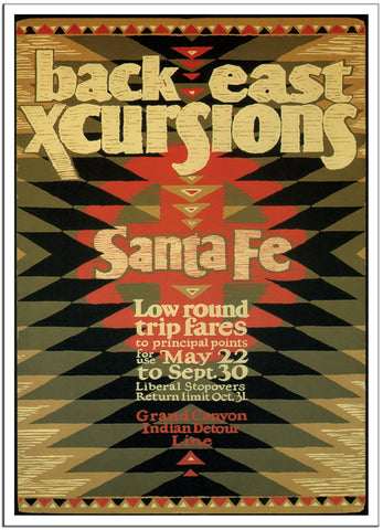 SANTA FE RAIL BACK EAST - 1924 - Vintage Railway Poster USA-Poster-Elysiumprints