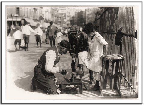 Shoe Shine - US Streets Scene - Vintage re-print - 1916-Poster-Elysiumprints