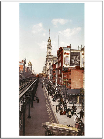 Sixth Avenue New York - US Streets Scene - Vintage re-print - 1901-Poster-Elysiumprints