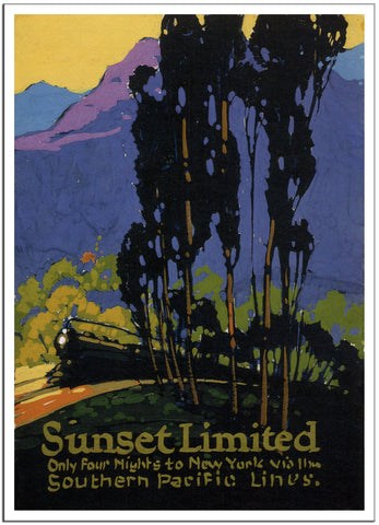 SUNSET LIMITED NEW YORK - 1925 - Vintage Railway Poster USA-Poster-Elysiumprints