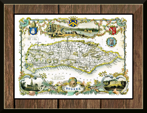 1830 Map of SUSSEX - County Map - Thomas Moule - Reproduction (42 x 30 cm)-Elysiumprints