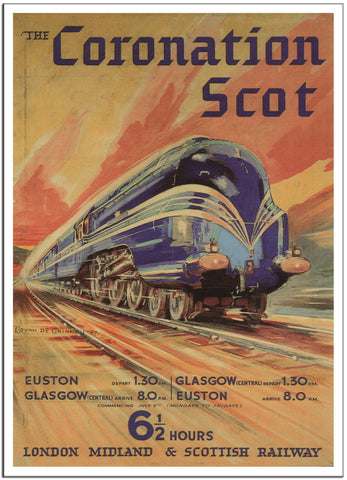 THE CORONATION SCOT by LMS Railways 1937 Vintage Railway Travel Poster-Poster-Elysiumprints