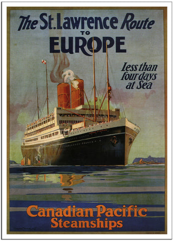 THE ST. LAWRENCE ROUTE TO EUROPE Canadian Pacific - 1925 - Travel Poster-Poster-Elysiumprints