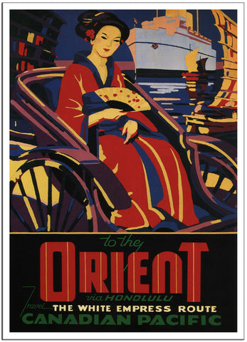 TO THE ORIENT VIA HONOLULU - Canadian Pacific - 1933 - Travel Poster-Poster-Elysiumprints
