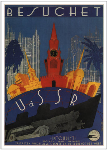VISIT TO THE USSR - German - Russian Vintage Travel Poster - 1930-Poster-Elysiumprints