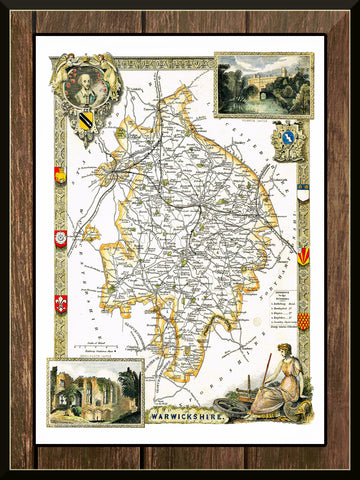1830 Map of WARWICKSHIRE - County Map - Thomas Moule - Reproduction (42 x 30 cm)-Elysiumprints
