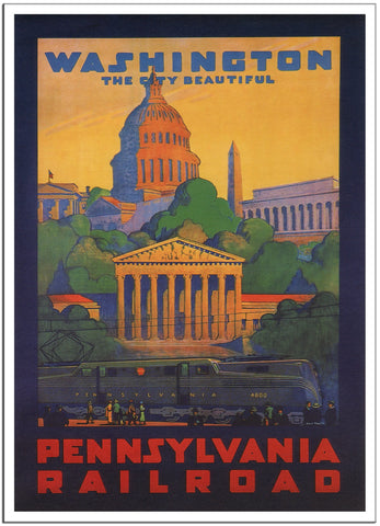 WASHINGTON, THE CITY BEAUTIFUL - 1935 - Vintage Railway Poster USA-Poster-Elysiumprints