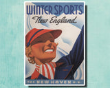 WINTER SPORTS NEW ENGLAND - 1937 - Vintage Railway Poster USA-Poster-Elysiumprints