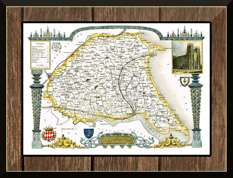 1830 Map of YORKSHIRE EAST RIDING - County Map T. Moule Reproduction 42 x 30 cm-Elysiumprints