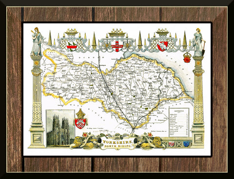 1830 Map of YORKSHIRE NORTH RIDING - County Map T. Moule Reproduction 42 x 30 cm-Elysiumprints