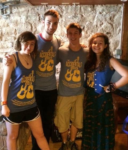 The Accidentals rocking some custom designed and printed  t-shirts at SXSW!
