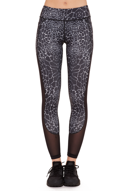 Printed Power Mesh Performance Legging / B&W Animal