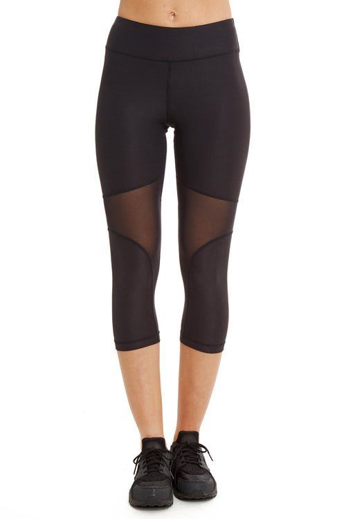 Performance Capri with Mesh Panel / Black