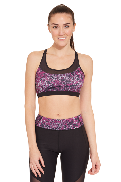 Printed X-Cross Straps Sports Bra / Dahlia Animal