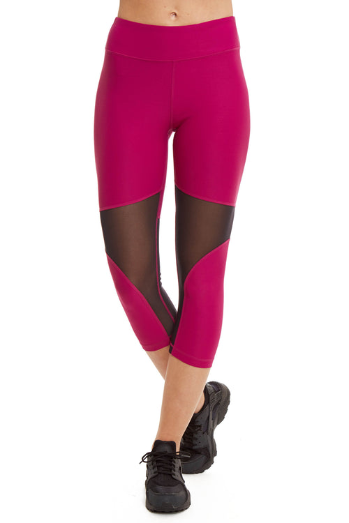 Performance Capri with Mesh Panel / Dahlia