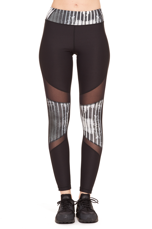Printed Power Mesh Performance Legging /  B/W Stripes