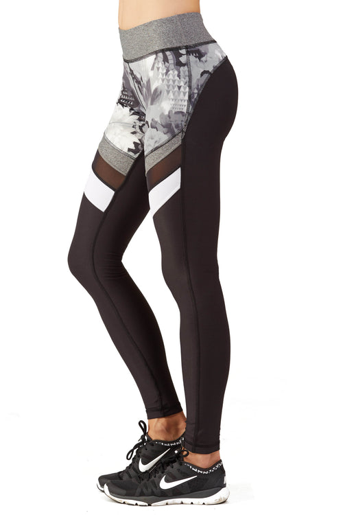 Print Blocked Performance Legging - B&W Floral