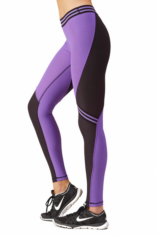 Color Blocked Performance Racing Legging / Amethyst