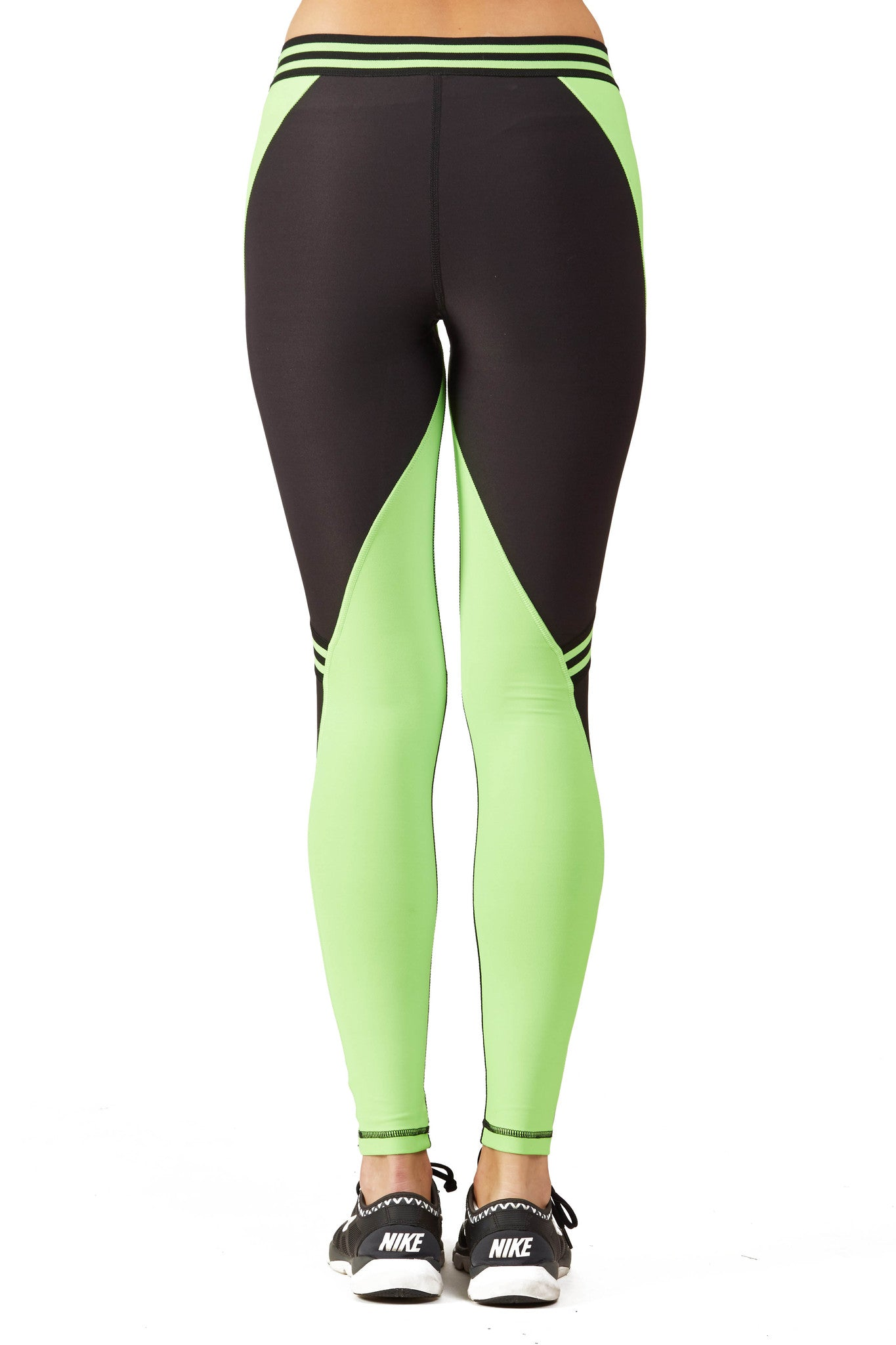 Color Blocked Performance Racing Legging / Ki Lime