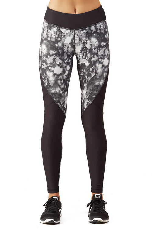 Print Blocked Performance Tight Fit Legging / B&W Lava