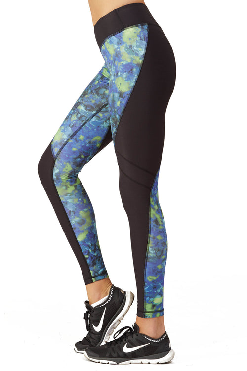 Print Blocked Performance Tight Fit Legging / Blue Lava