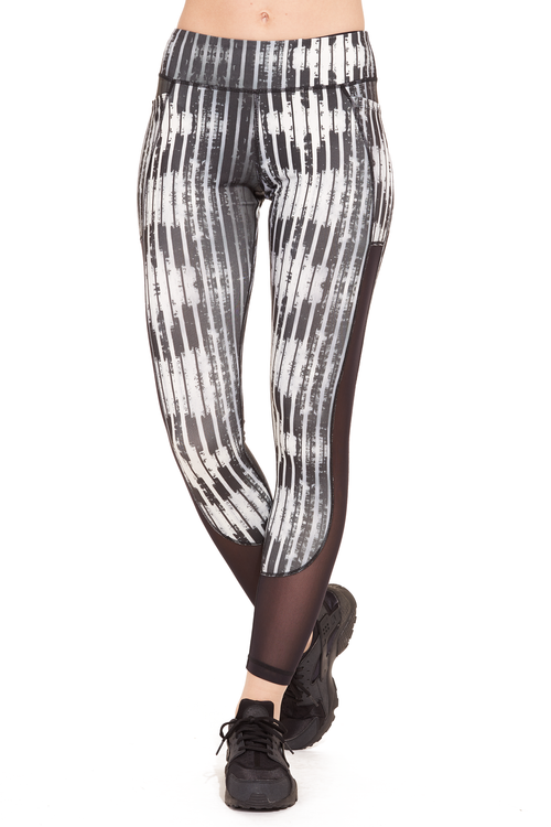 Printed Power Mesh Performance Legging / Black Stripes