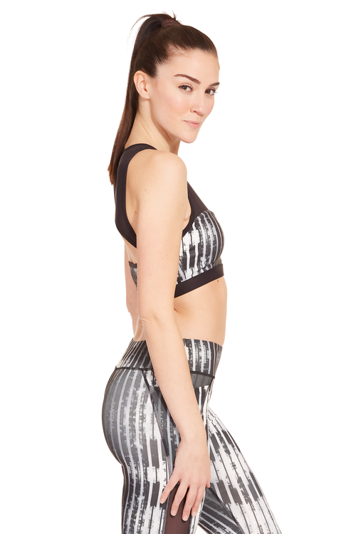 Printed Power Mesh Sports Bra / Black Stripes