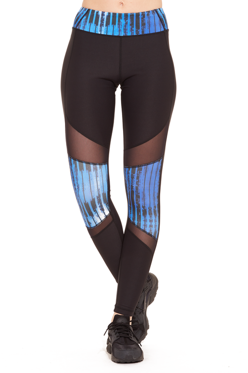 Printed Power Mesh Performance Legging / Blue Stripes