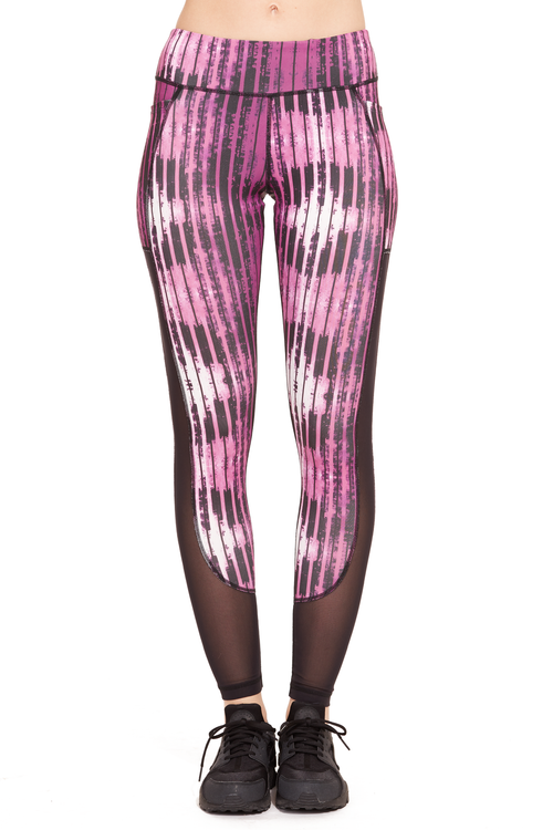 Printed Power Mesh Performance Legging / Dahlia Stripes