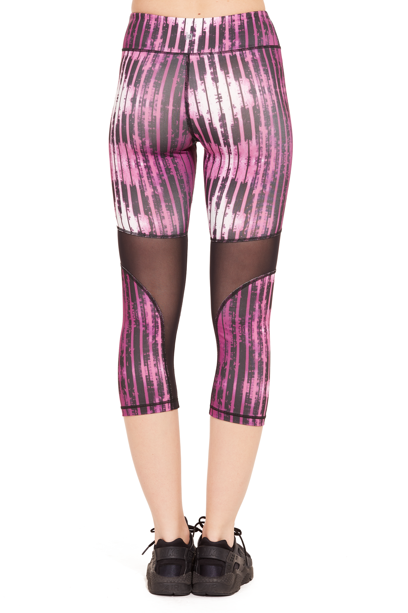 Performance Printed Capri with Mesh Panel / Dahlia Stripes