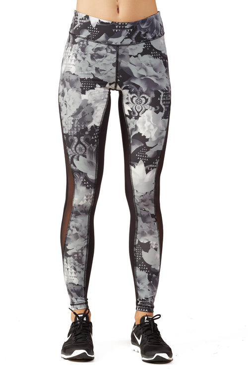 Print Blocked Performance Legging / B&W Floral