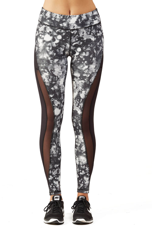 Print Blocked Performance Legging / B&W Lava
