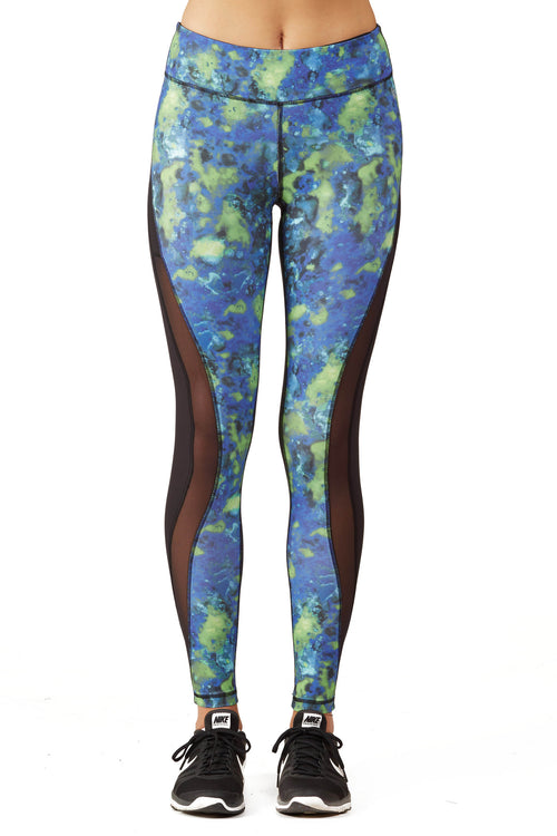 Print Blocked Performance Legging / Blue Lava