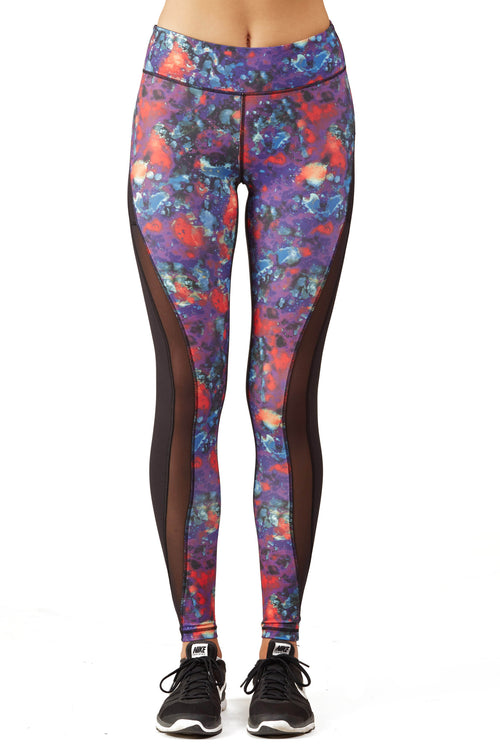 Print Blocked Performance Legging / Purple Lava