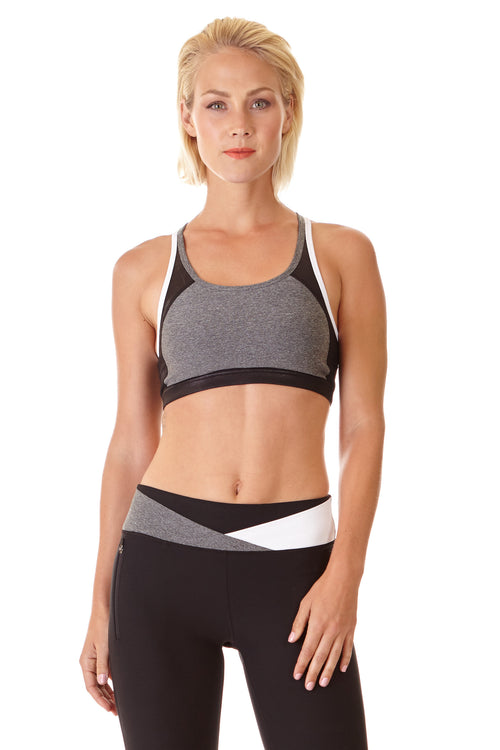 Color Blocked Sports Bra - White