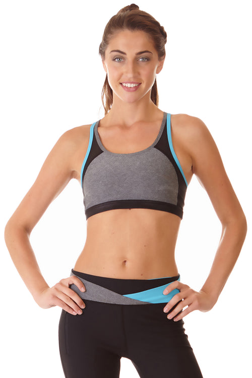 Ki Pro Women's Color Blocked Sports Bra - TURQUOISE